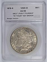 1878-S MORGAN DOLLAR SEGS AU-55 (VAM-42)