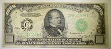 1934 $1,000.00 FEDERAL RESERVE NOTE VF