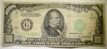1934 A $1,000.00 FEDERAL RESERVE NOTE VG-FINE