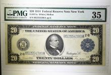 1914 $20 FEDERAL RESERVE NOTE NEW YORK PMG 35