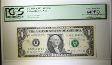 1977 $1 FEDERAL RESERVE NOTE PCGS 64PPQ INSUFFICIENT INK ERROR FANCY SERIAL #