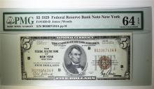 1929 $5 NATIONAL CURRENCY FEDERAL RESERVE BANK NOTE NEW YORK  PMG 64-EPQ