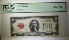 1928G $2 LEGAL TENDER NOTE RED SEAL PCGS 66PPQ
