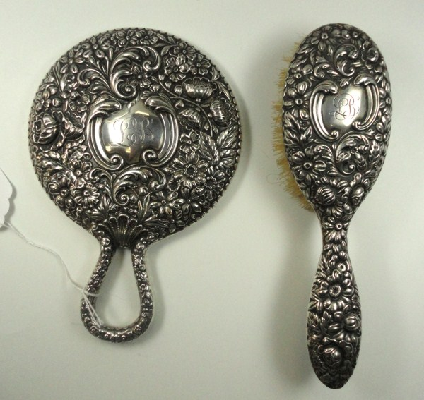 Antique Signed Gorham Sterling silver Brush & Mirror