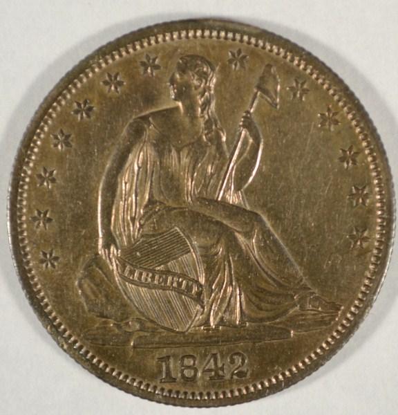 1842 MD Seated half $ all original tone AU est $250-$275