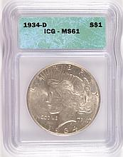 1934-D PEACE SILVER DOLLAR, ICG MS-61   WHITE