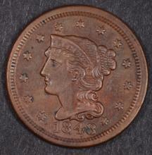 1848 LARGE CENT, AU/BU