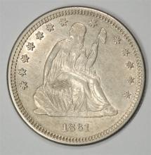 1861 SEATED LIBERTY QUARTER, CHOICE BU  NICE