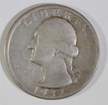 1932-D WASHINGTON QUARTER, FINE, KEY DATE