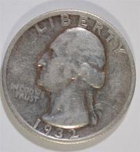 1932-S WASHINGTON QUARTER, VF, KEY DATE