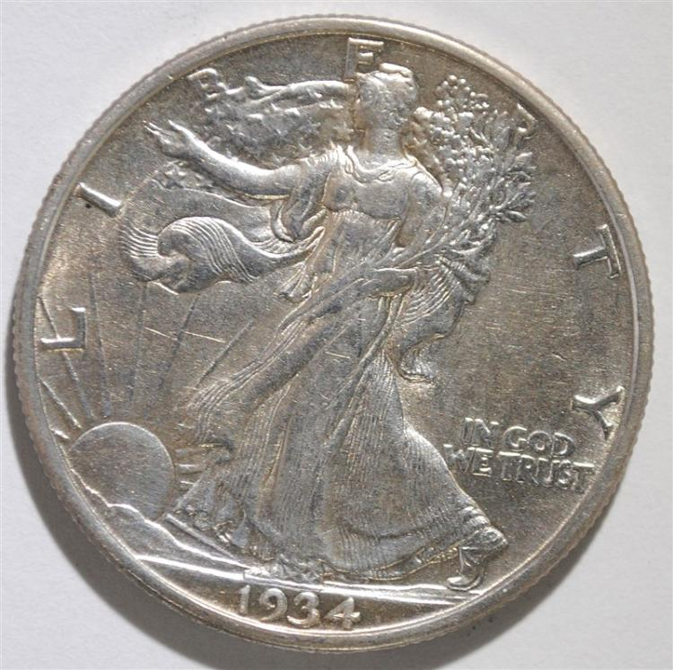 1934-S WALKING LIBERTY HALF DOLLAR, AU
