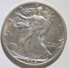 1934-S WALKING LIBERTY HALF DOLLAR, AU