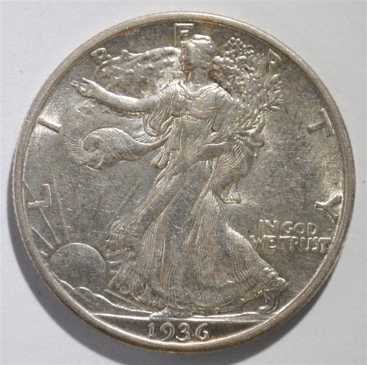 1936-S WALKING LIBERTY HALF DOLLAR, AU/BU TOUGH DATE!