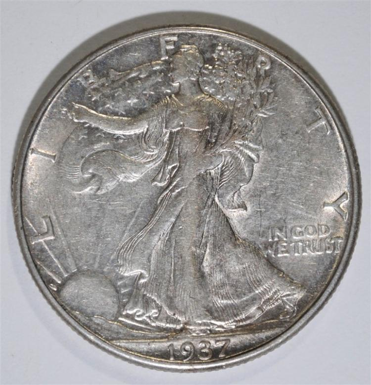 1937-D WALKING LIBERTY HALF DOLLAR, AU