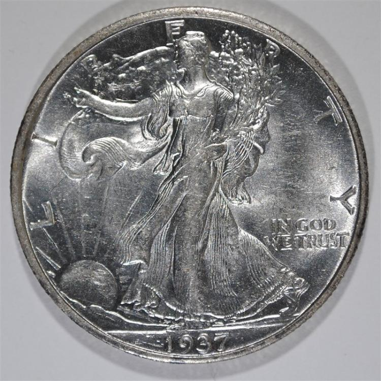 1937-S WALKING LIBERTY HALF DOLLAR, CHOICE BU KEY DATE!
