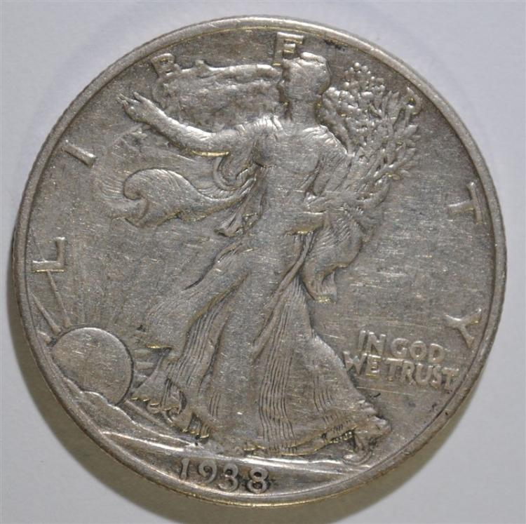 1938-D WALKING LIBERTY HALF DOLLAR, XF KEY DATE!