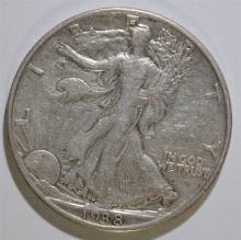 1938-D WALKING LIBERTY HALF DOLLAR, XF  KEY DATE!