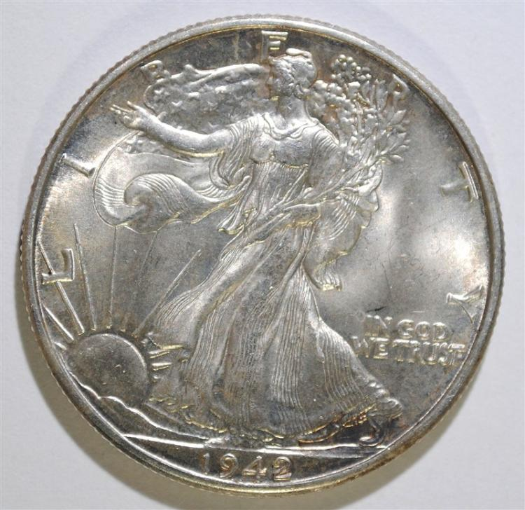 1942-D WALKING LIBERTY HALF DOLLAR, GEM BU