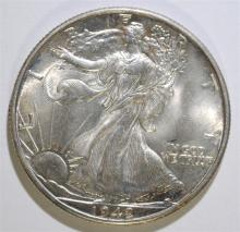 1942-D WALKING LIBERTY HALF DOLLAR, GEM BU