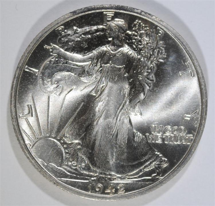 1942-S WALKING LIBERTY HALF DOLLAR, BU