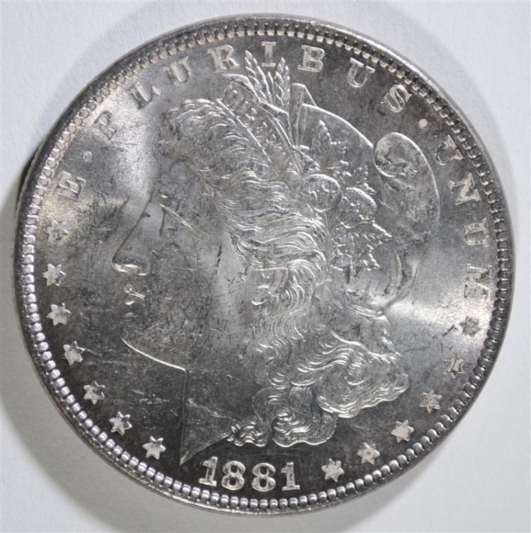 1881 MORGAN SILVER DOLLAR, CHOICE BU