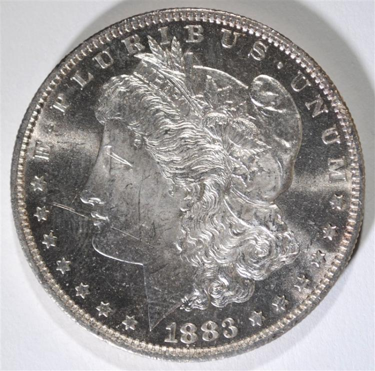 1883-O MORGAN SILVER DOLLAR, CHOICE BU PL