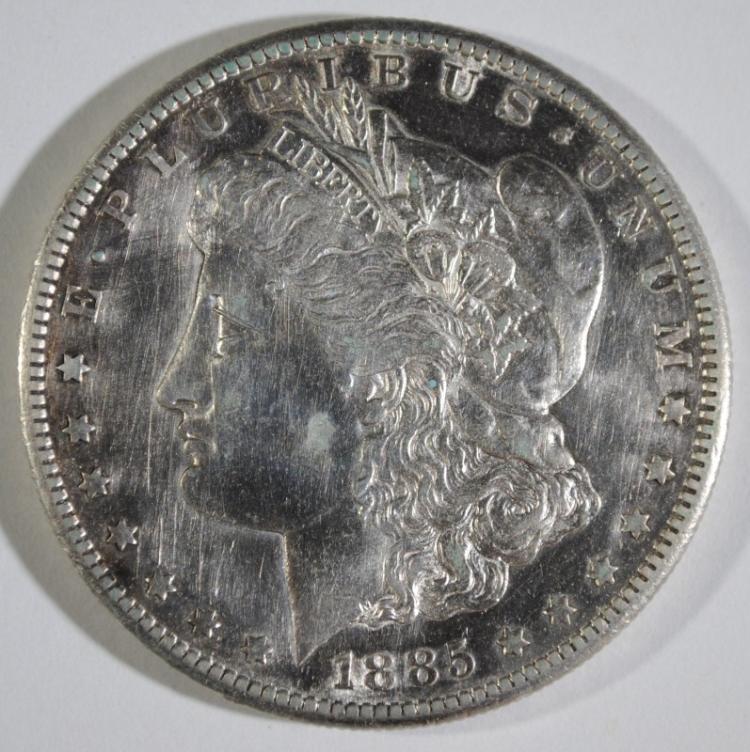 1885-S MORGAN SILVER DOLLAR, BU KEY DATE! harshly cleaned