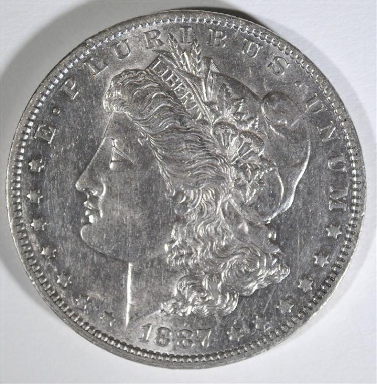 1887-O MORGAN SILVER DOLLAR, CHOICE BU