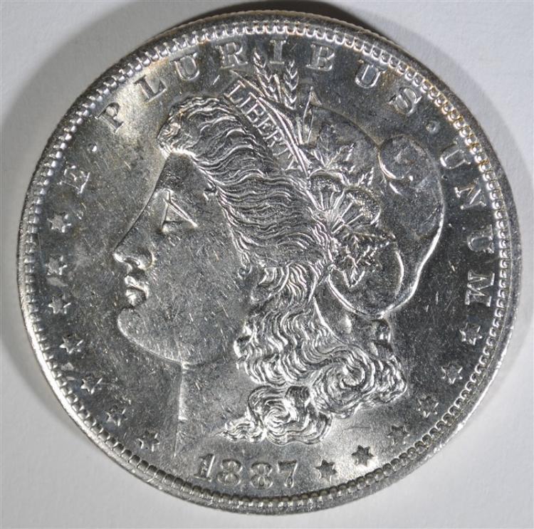 1887-S MORGAN SILVER DOLLAR, CHOICE BU+ BLAST WHITE