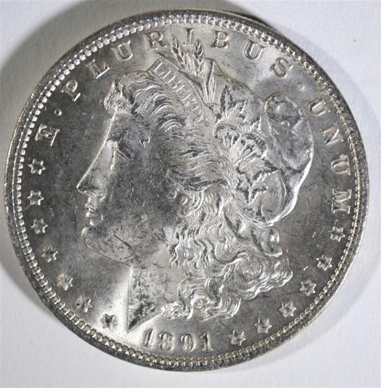 1891 MORGAN SILVER DOLLAR, CHOICE BU