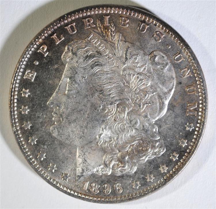 1896 MORGAN SILVER DOLLAR, CHOICE BU PL