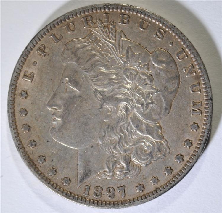 1897-O MORGAN SILVER DOLLAR, AU  KEY DATE