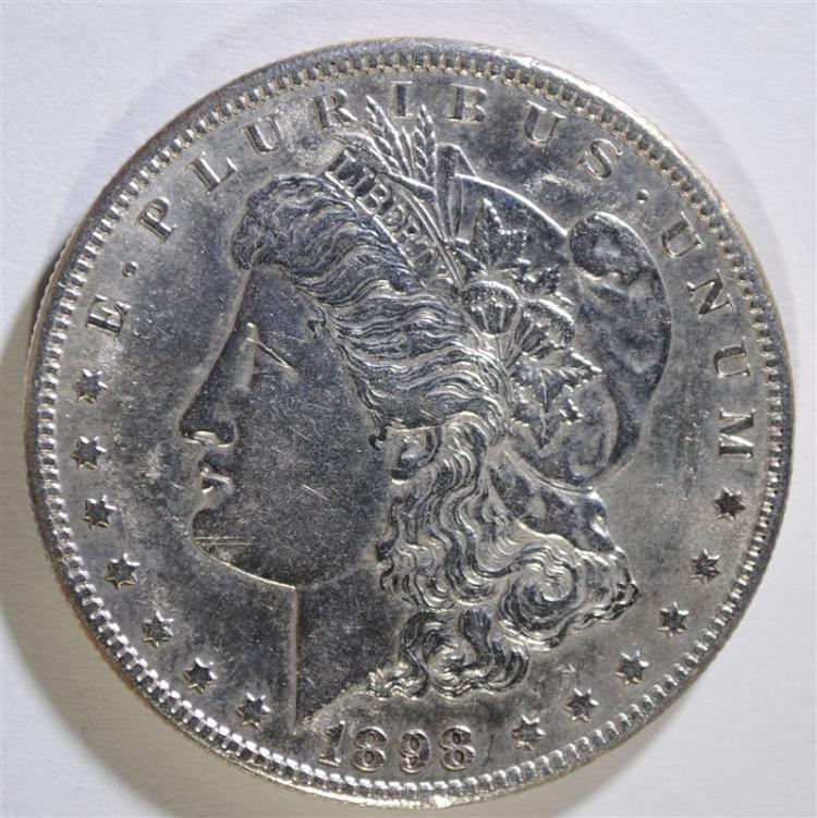 1898-S MORGAN SILVER DOLLAR, CHOICE BU