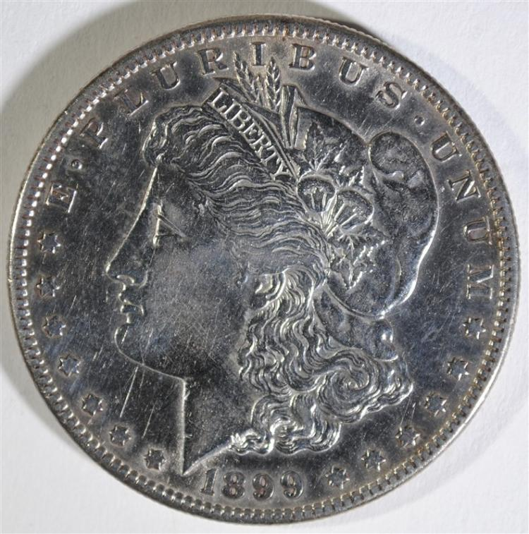 1899-S MORGAN SILVER DOLLAR, AU/BU  KEY DATE