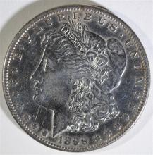 1899-S MORGAN SILVER DOLLAR, AU/BU  KEY DATE