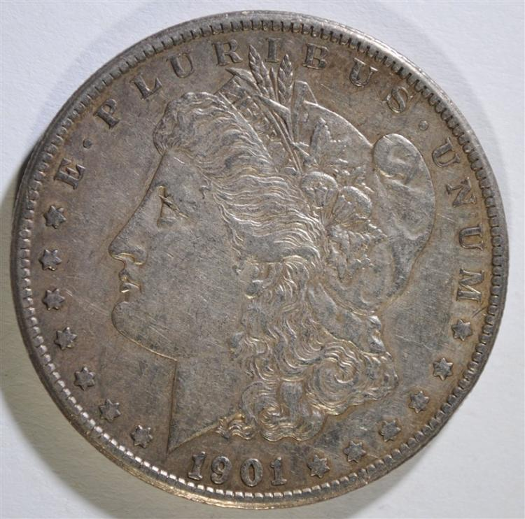 1901-S MORGAN SILVER DOLLAR, XF/AU  KEY DATE
