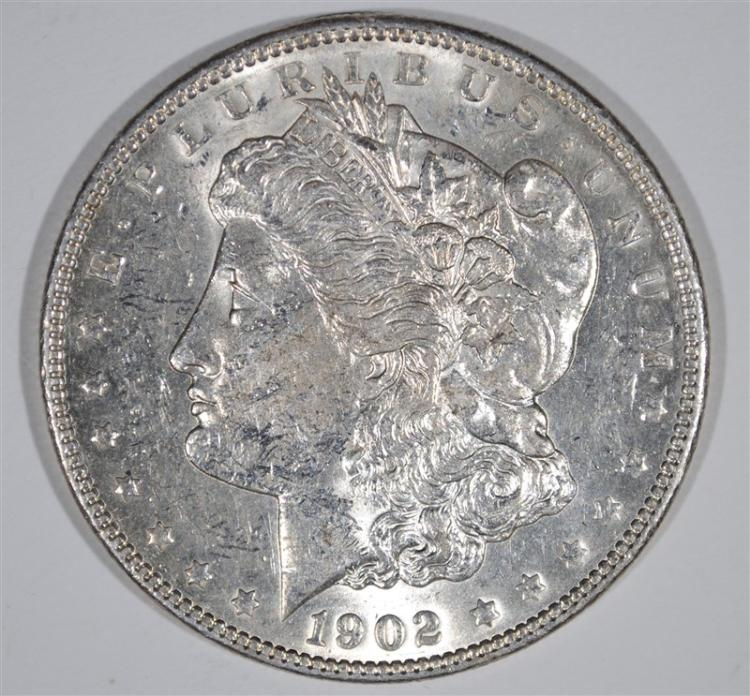 1902 MORGAN SILVER DOLLAR, CHOICE BU  KEY DATE