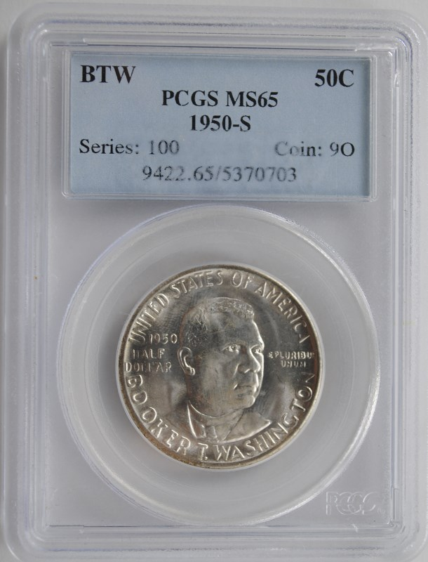 1950-S BOOKER T WASHINGTON COMMEM HALF DOLLAR - PCGS MS65