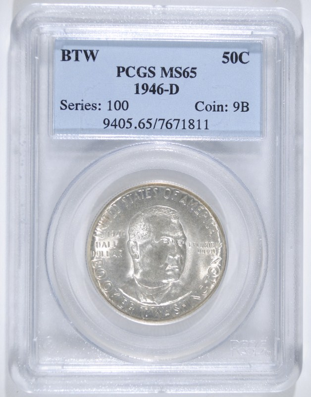 1946-D BOOKER T WASHINGTON COMMEM HALF DOLLAR - PCGS MS65