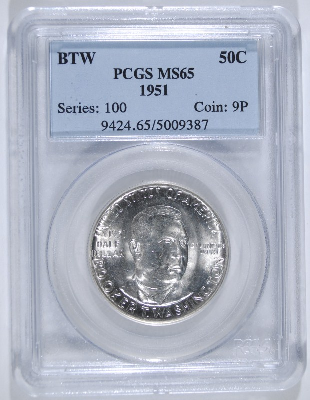 1951 BOOKER T WASHINGTON COMMEM HALF DOLLAR - PCGS MS65