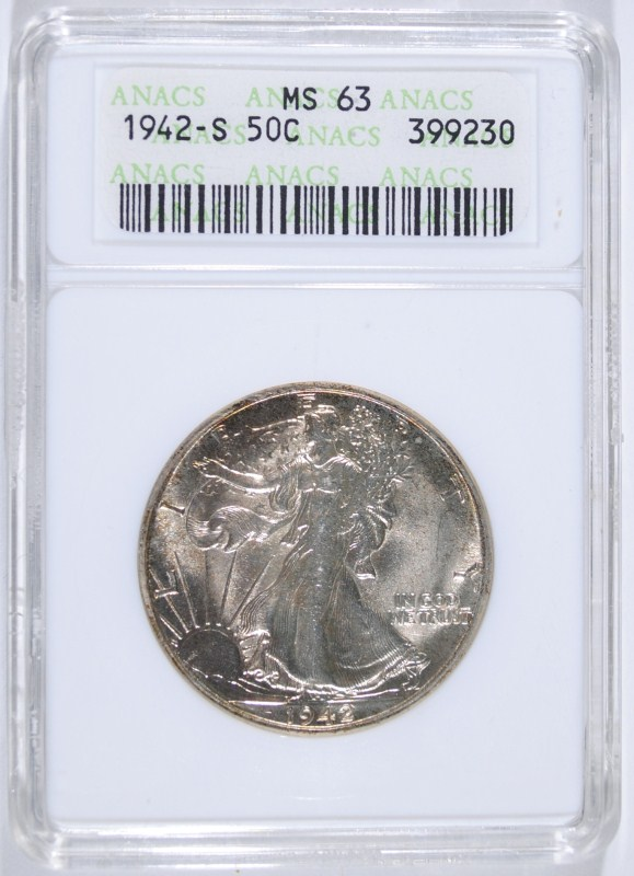 1942-S WALKING LIBERTY HALF DOLLAR - ANACS MS63