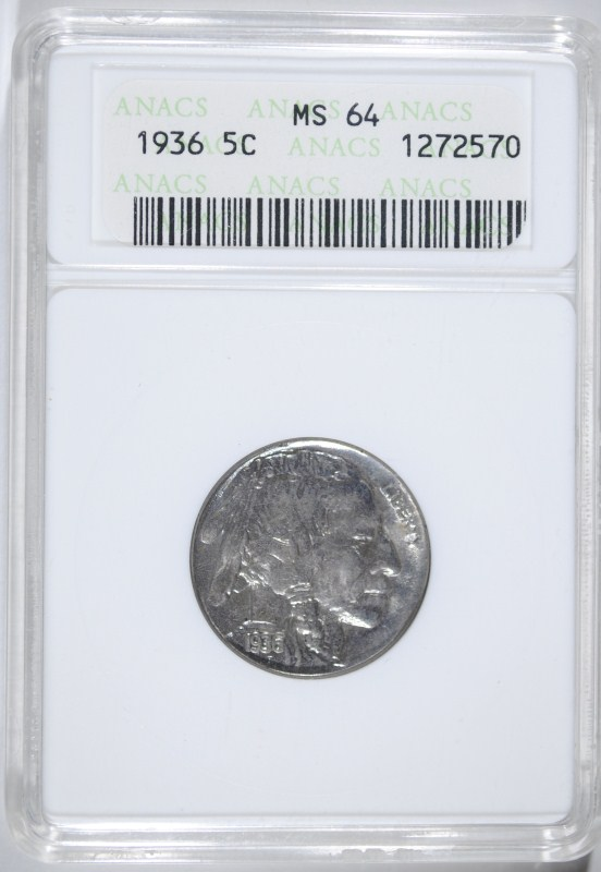1936 BUFFALO NICKEL - ANACS MS64