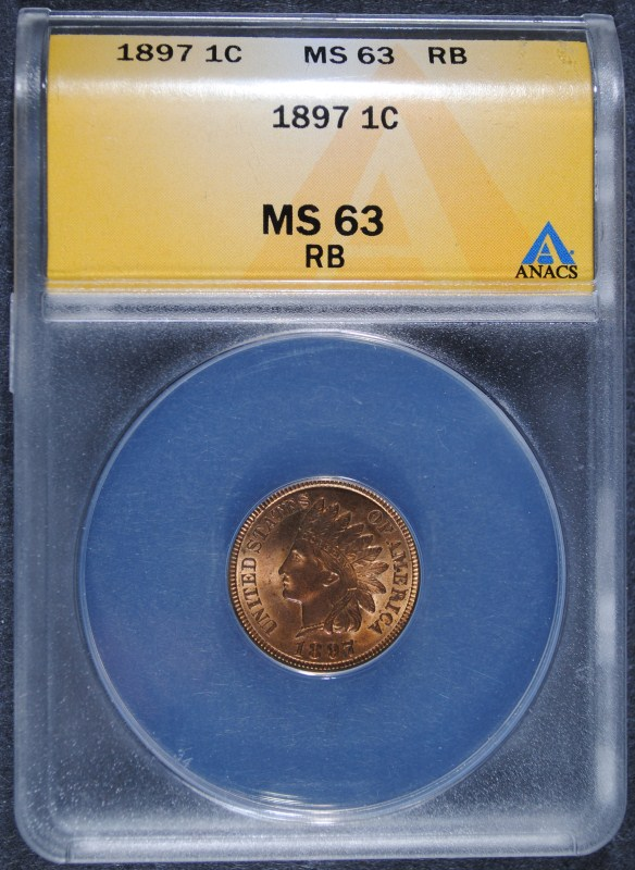 1897 INDIAN HEAD CENT - ANACS MS63 RB