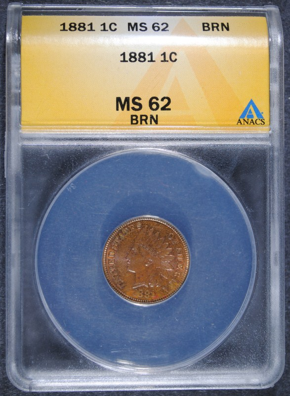 1881 INDIAN HEAD CENT - ANACS MS62 BRN