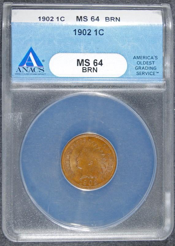 1902 INDIAN HEAD CENT - ANACS MS64 BRN