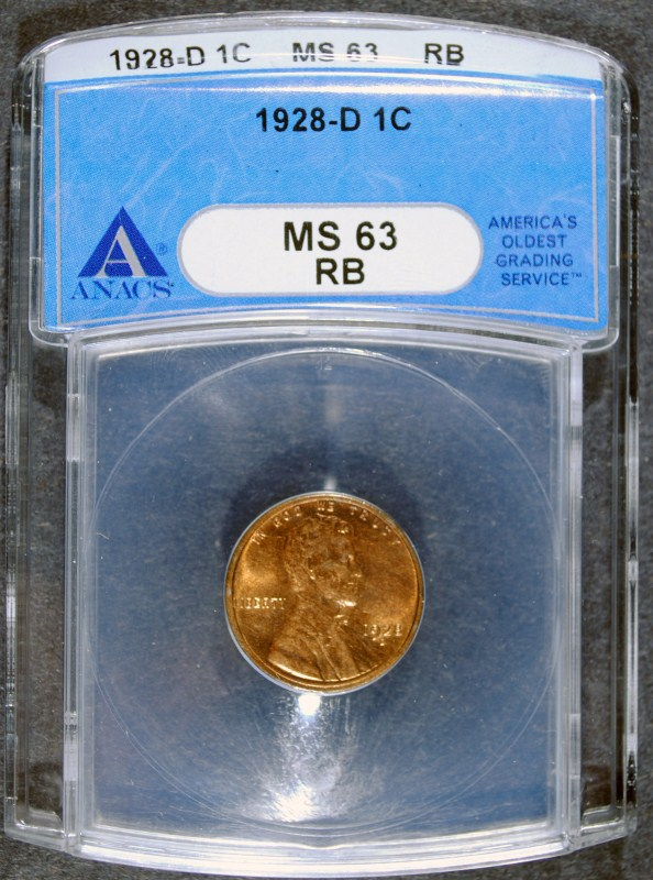 1928-D LINCOLN WHEAT CENT - ANACS MS63 RB