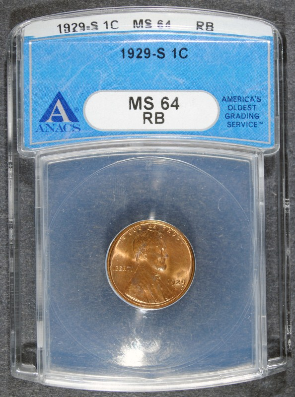 1929-S LINCOLN WHEAT CENT - ANACS MS64 RB