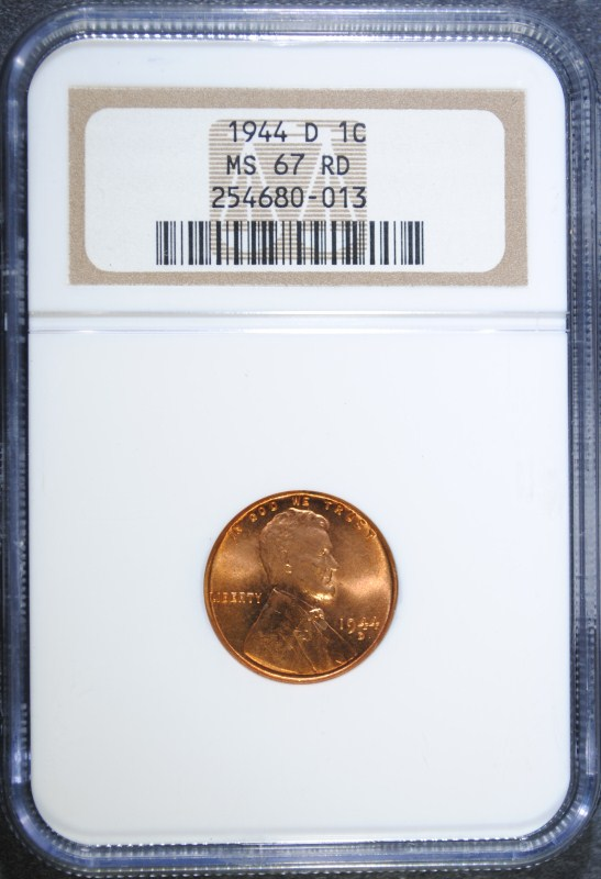 1944-D LINCOLN WHEAT CENT - NGC MS67 RD