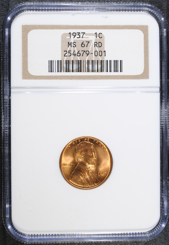 1937 LINCOLN WHEAT CENT - NGC MS 67 RD