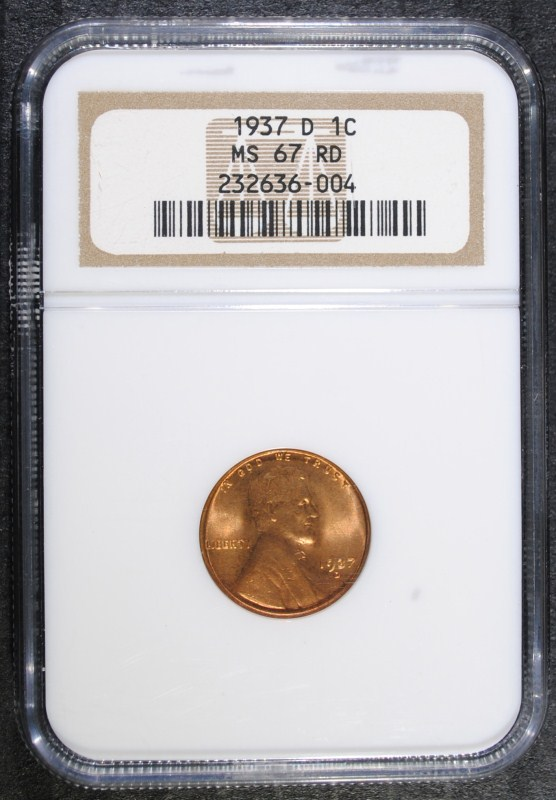 1937-D LINCOLN WHEAT CENT - NGC MS 67 RD